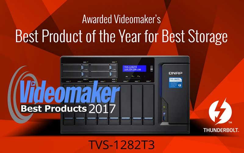 NAS Thunderbolt 3 serie TVS-1282T3 premiado por la revista Videomaker