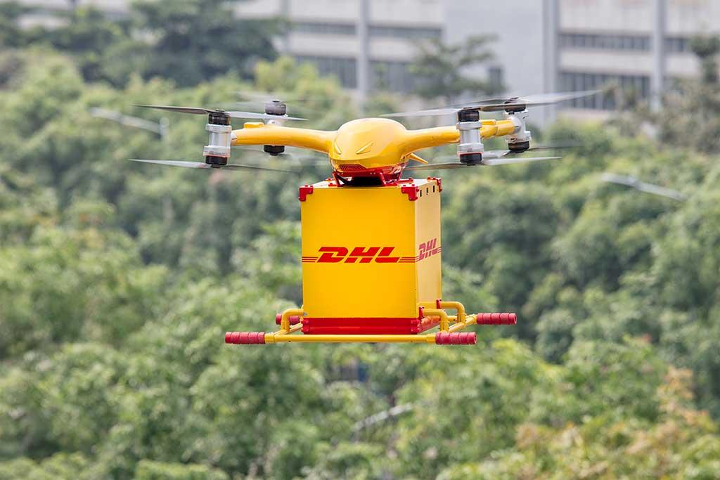 DHL Express lanza servicio de reparto regular urbano con drones inteligentes