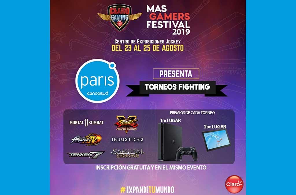 Tiendas Paris auspiciará 6 torneos en el Claro MasGamers Festival