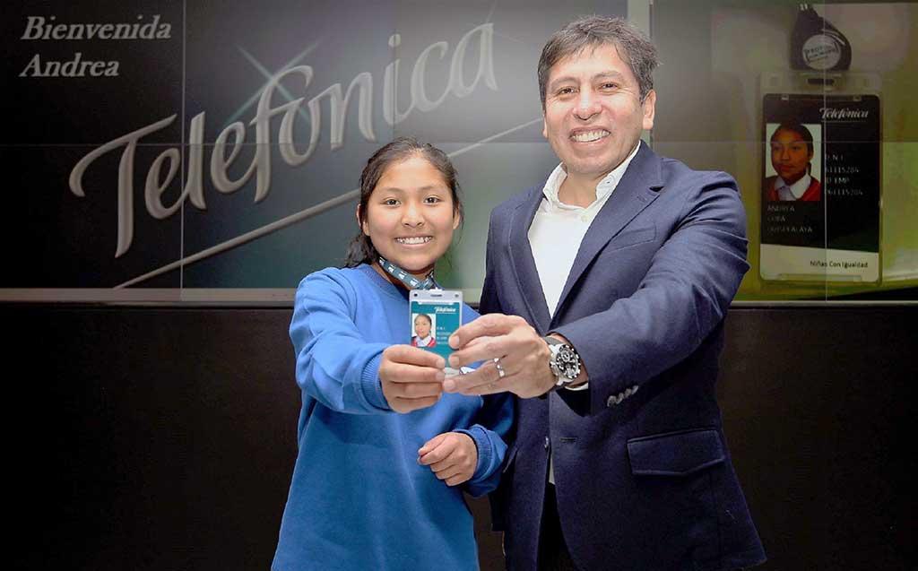 Niña de Huancavelica se convierte en presidenta de Movistar por un día