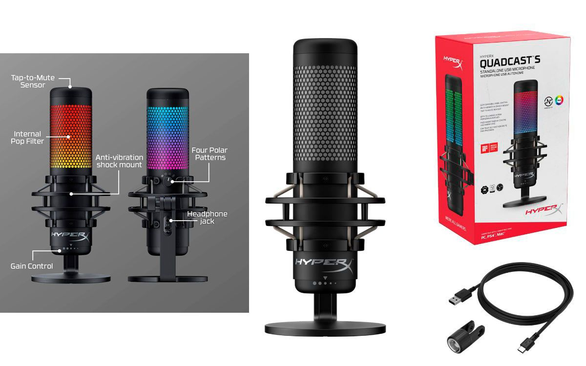 HyperX lanza nuevo micrófono QuadCast S USB con efectos de iluminación RGB